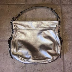 EUC Silver Coach Zoe Shoulder Bag
